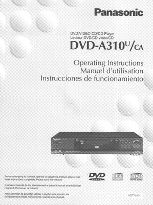 Panasonic DVD-A310U DVD Player Owners Instruction Manual