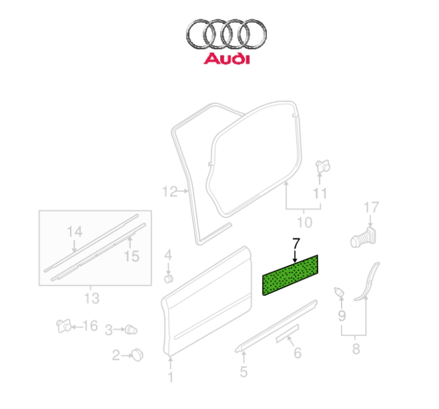 Audi OEM 05-11 A6 Quattro Front Door-sound Absorber Right
