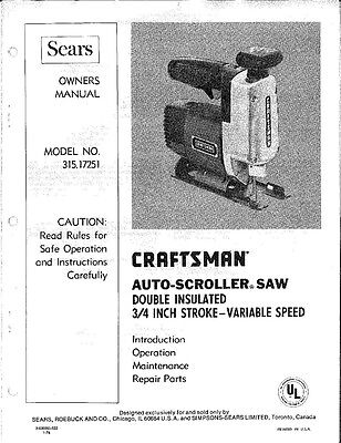 1978 Craftsman 315.17251 Saber Saw 3/4