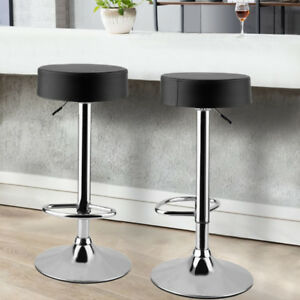 stools for kitchen ninja black 2 bar padded faux leather breakfast stool image is loading