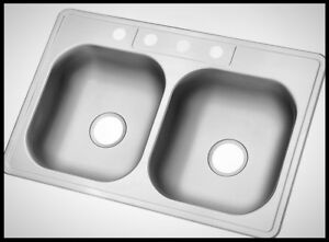 22 inch kitchen sink tables at target glacier bay drop in double bowl stainless steel 4 hole image is loading