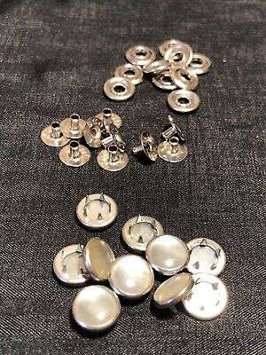 Buttons And Snaps : buttons, snaps, Ginger, Snaps, Scovill, White, PEARL, FASTENERS, Buttons, Western, Shirt, Crafts