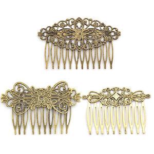 Women Vintage Bronze Hair Comb Flower Sunflower Metal