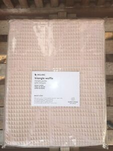 details about nwt west elm organic cotton triangle waffle shower curtain in pink blush