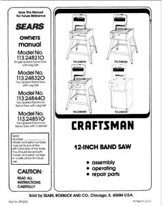 Craftsman 113.248320 113.248440 Band Saw Instruction