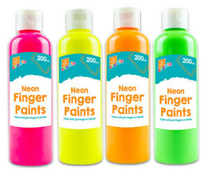Kids Neon Finger Paint Set Children Art Craft Painting 4 Non Toxic Colours Ebay