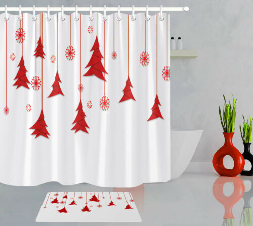 hanging red christmas tree and snowflake white shower curtain hooks bathroom mat bath patterer shower curtains