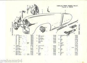 1941 42 46 47 48 49 Cadillac Front Fender NOS Parts Guide