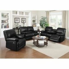 Black Modern Sofa Set Sectional Pit 3pc Motion Loveseat Chair Bonded Leather Match Image Is Loading Amp