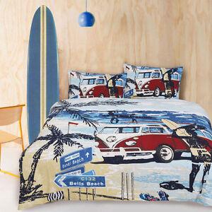 details about retro summer kombi van beach surf boys teen single size quilt doona cover set