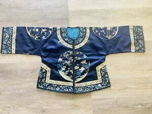 Fantastic Antique Chinese Silk Ladies Robe With Large Embroidered Roundels Qing