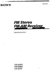 Sony STR-DE591 STR-DE835 STR-DE935 Receiver Owners Manual