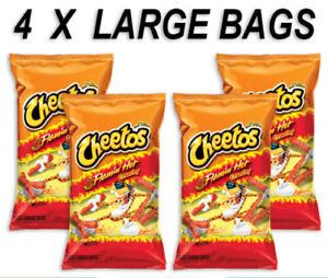 4 x Cheetos Crunchy Flamin Hot LARGE 226g Bags US import ...