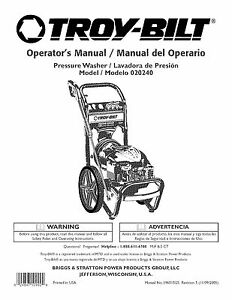 Troy-Bilt Pressure Washer Manual 2550 psi Model # 020240