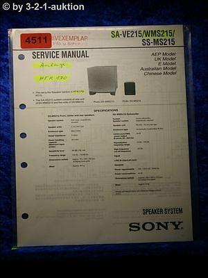 sony service manual sa ve215/ wms215/ ss ms215 speaker system 4511  ebay