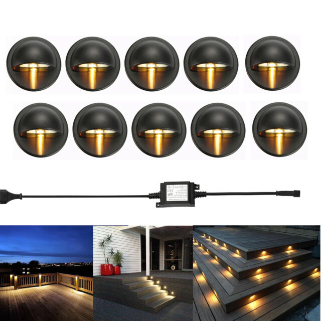 10pcs led deck step stair light outdoor landscape yard lighting low voltage kit