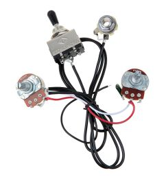 electric guitar wiring harness kit 3 way toggle switch 1 volume 1 tone 500k pots [ 1200 x 1200 Pixel ]