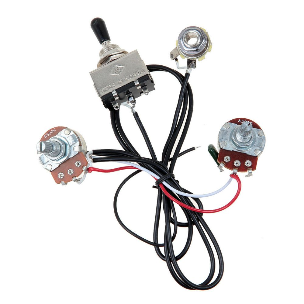 medium resolution of electric guitar wiring harness kit 3 way toggle switch 1 volume 1 tone 500k pots