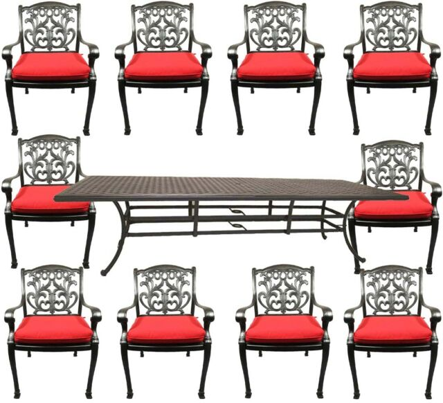 11 Piece Outdoor Dining Set Patio Chairs Nassau Cast Aluminum 46 X 120 Table For Sale Online Ebay