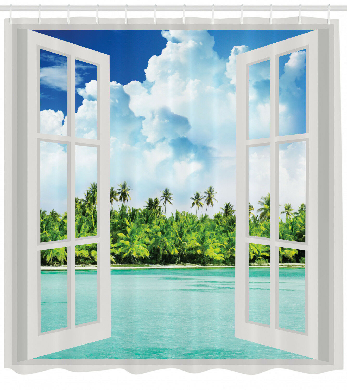 Ocean Decor Palm Tree Tropical Island Beach Paradise Scene Fabric Shower Curtain