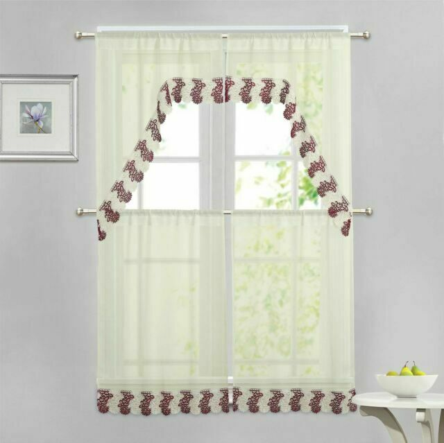 beige 4 pc window curtain set burgundy and ivory macrame border 2 swag 2 tiers