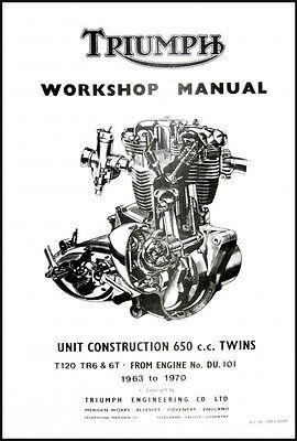 TRIUMPH 650 UNIT TWIN FACTORY SHOP MANUAL T120 TR6 6T 1963
