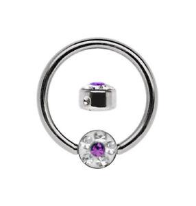 Titan Septum Piercing Ring BCR 1,6mm mit 4mm Epoxy Strass Platte, Größe 6-12mm