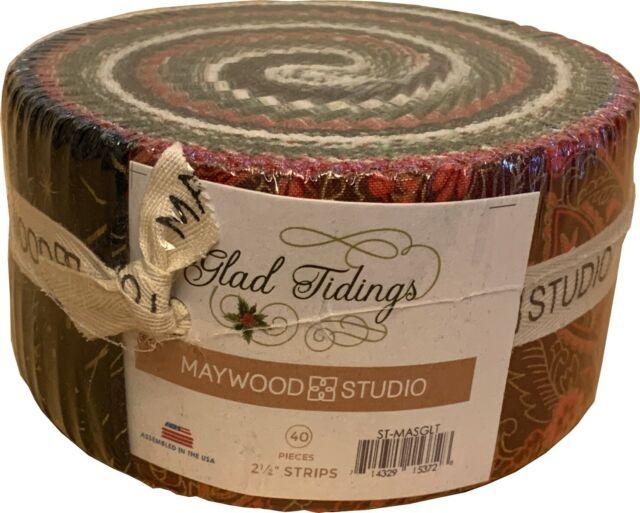 Maywood Studio Glad Tidings Metallic Jelly Roll Fabric 40 2.5x44