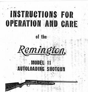 Remington Model 11 Instruction Manual With Free DVD Gun