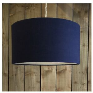 Navy Blue Linen Fabric Drum Light Shade Amp Diffuser Modern