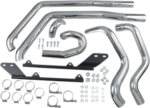 details zu bassani chrome power curve true dual exhaust headpipes for 07 17 harley softail