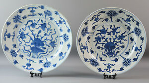 PAIR ANTIQUE CHINESE BLUE AND WHITE PLATE 18TH CENTURY LARGE