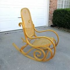 Rocking Chair Cane Patio Chairs Set Of 2 Nice Vtg Mid Century Modern Thonet Maple Bentwood Rocker Details About Seat