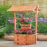 Wishing Well Planter Wooden Lawn Garden Yard Decor Flower ...