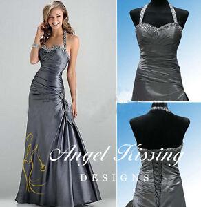 Neu Neckholder Bodenlang Brautjungfernkleider Abendkleider Festliche Ballkleider  eBay