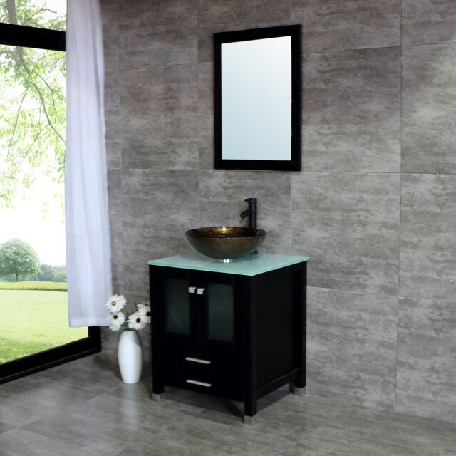 25 Vessel Sink Bathroom Vanity Cabinet W Mirror Emepered Glass Countertop For Sale Online