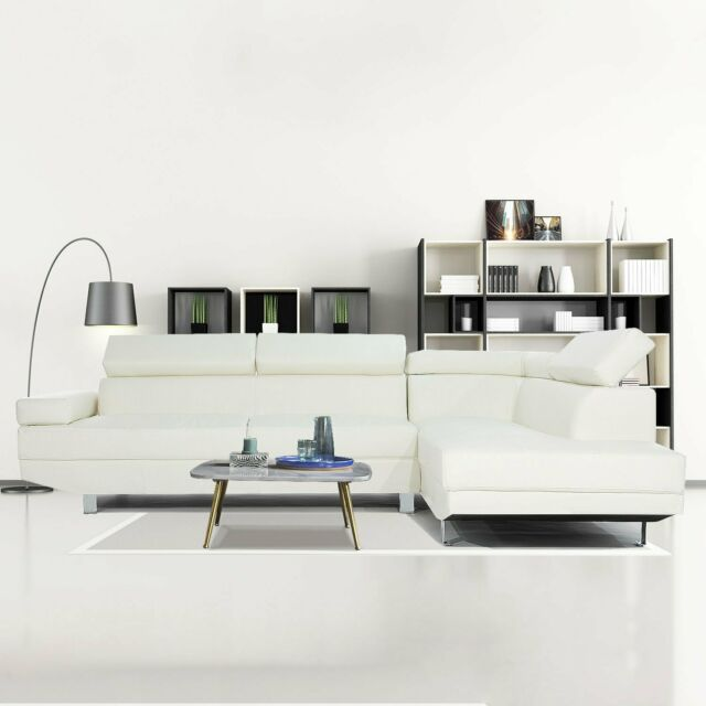 2 piece modern contemporary white faux leather sectional sofa with chrome legs