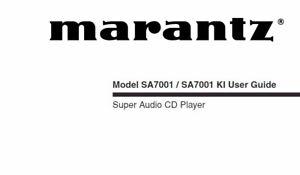 MARANTZ SA7001 SA7001 KI USER GUIDE IN ENGLISH SUPER AUDIO
