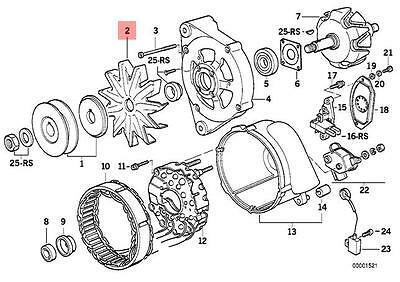 Genuine BMW E23 E24 E28 E30 E32 E34 E36 Alternator Fan