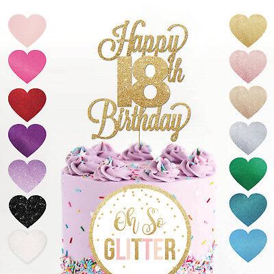 Happy 18th Birthday Cake Topper Eighteen Daughter Son Nephew Niece Glitter Ebay
