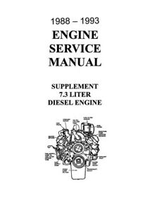 1988 1992 1993 Ford 7.3 Diesel Engine Shop Service Repair