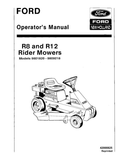 NEW HOLLAND Ford R8 R12 Riding Mowers Mdls 9801820 9809218