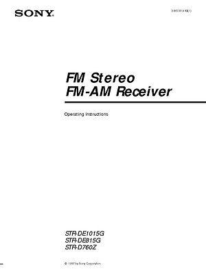 Sony STR-DE1015G Amplifier / Receiver Owners Instruction