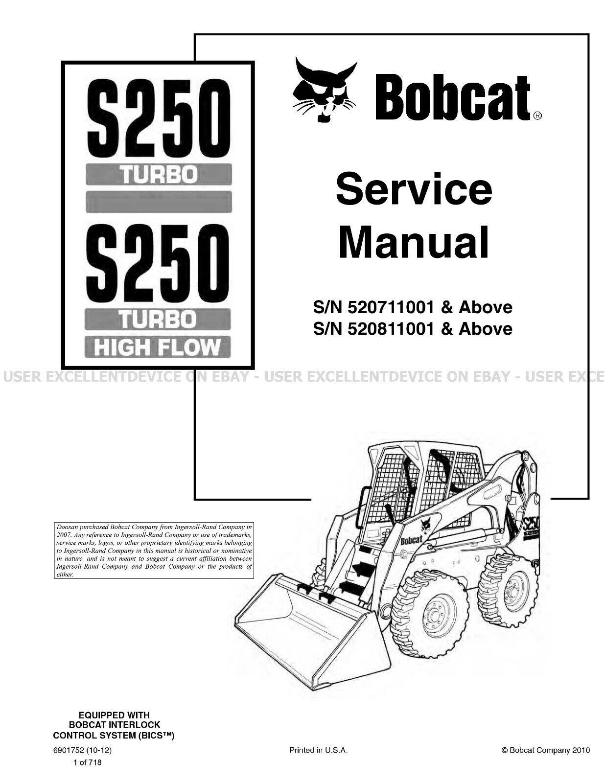 Bobcat S250 Turbo Highflow Skid Steer Printed Service
