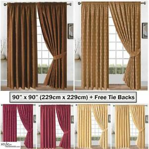 90 x 90 Jacquard Curtains Floral or Checked Square