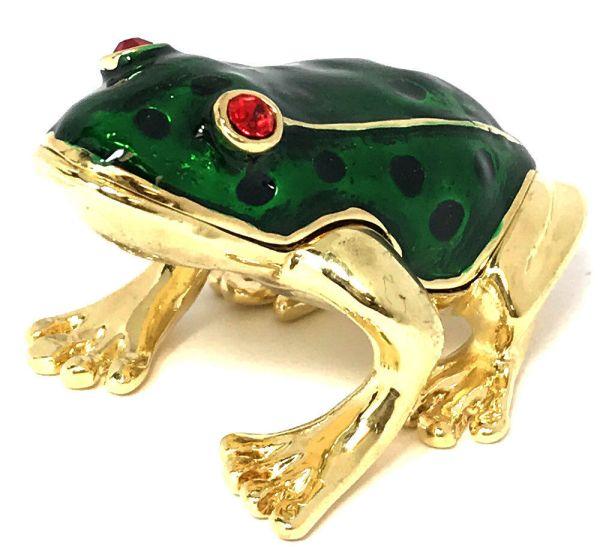 Baby Frog Trinket Jewelry Box With Austrian Crystals
