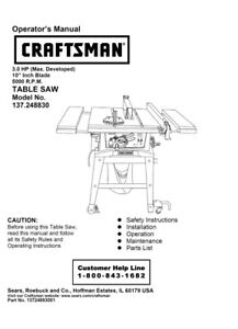 Craftsman 137.248830 Table Saw Owners Instruction Manual
