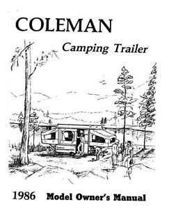 COLEMAN Popup Trailer Owners Manual-1986 Shenadoah