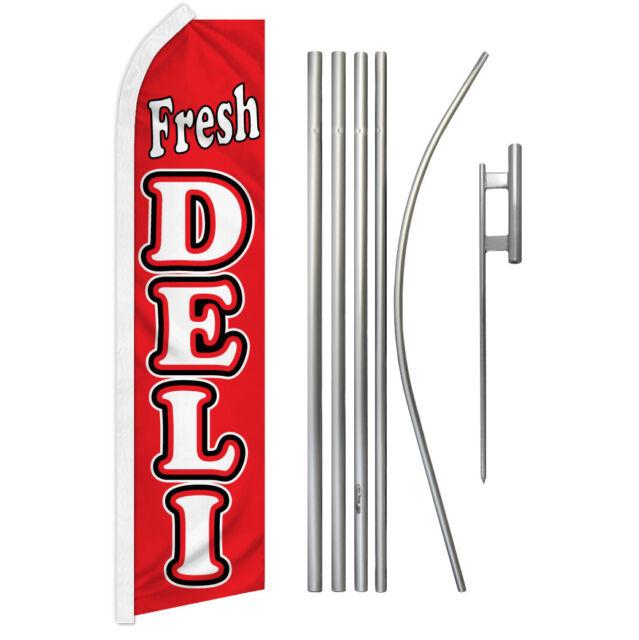 Fresh Deli Swooper Flutter Feather Advertising Flag Kit Food Here Sandwiches | eBay
