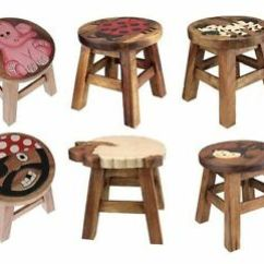 Wooden Step Stool Chair Cover Rentals Greenville Sc Kids Brown Solid Wood Seat Hand Painted Image Is Loading